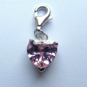 Sterling Silver Pink Cubic Zirconia Clip on Heart Shaped Charm